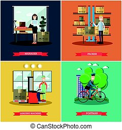 Vector set of mail delivery posters in flat style - Vector...