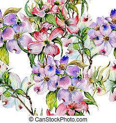 Wildflower dogwood flower pattern in a watercolor style...