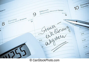 entry to the calendar: tax return - an appointment is...