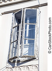 old windows to be renovated - old window on an old building,...