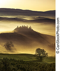 dreamlike dawn in the idyllic Tuscan hills