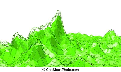 Green low poly background pulsating. Abstract low poly...