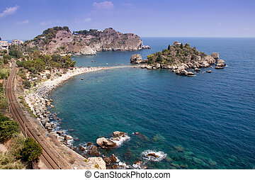 Sea of Sicily; Taormina beach with 'Isola Bella'