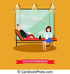 Psychotherapist and patient vector illustration in flat style