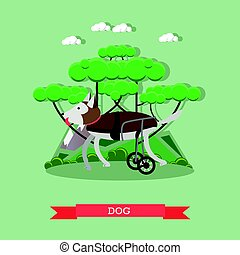 Dog mobility aid vector illustration in flat style - Vector...