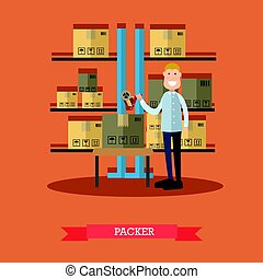 Vector illustration of packer in flat style