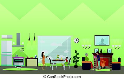 Mother concept vector illustration in flat style - Vector...