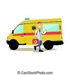 Ambulance staff concept vector illustration in flat style
