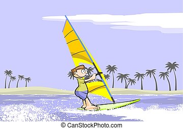Windsurf summer cartoon. Conceptual vector illustration...