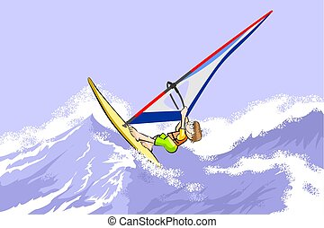 Windsurfing jumping on waves. Conceptual vector illustration...