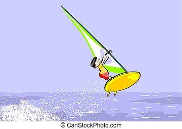 Windsurfing jumping on the sea. Summer conceptual vector...