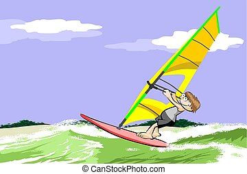 Windsurfing on the beach. Conceptual vector illustration.