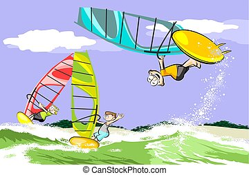 Summer and windsurfing. Conceptual vector illustration.