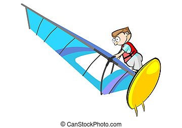 Windsurf boy isolated on white. Conceptual vector...