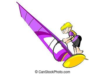 Windsurf illustration isolated on white background....