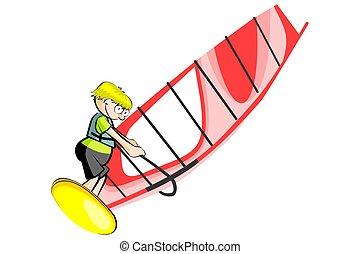 Windsurfing cartoon style isolated on white background....