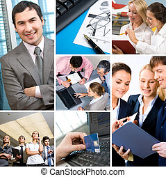 Communication - Collage with businesspeople: leader,...