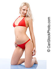 Woman in bikini - Portrait of blond female in red bikini...