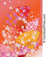 vector japanese fans, ribbons and flowers - japanese fans,...