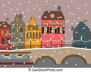 vector winter fairy town with houses, bridge, and snow