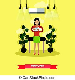 Feeding concept vector illustration in flat style - Vector...