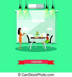 Dinner concept vector Illustration in flat style