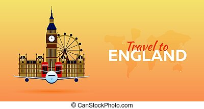 Travel to England. Airplane with Attractions. Travel vector...