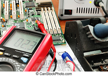 Electronic equipment - Working place of a technician with...
