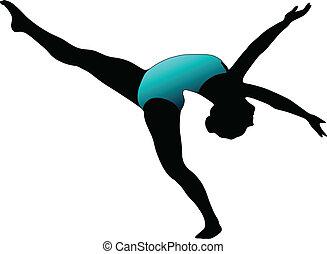 Dance girl ballet silhouettes - vector eps