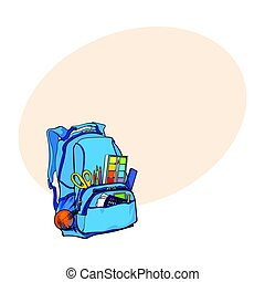 Blue backpack packed with school items, supplies, stationary objects
