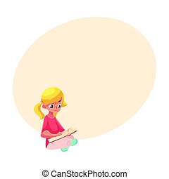 Little blond girl with ponytails reading book sitting crossed legs