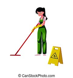 Cleaning service girl, charwoman, cleaner in overalls...