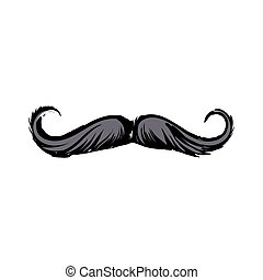 Human hipster curled up mustache, decoration element, sketch...