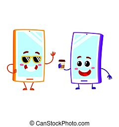 Cartoon mobile phone characters, wearing sunglasses, holding paper coffee cup