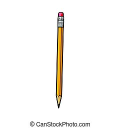 Simple hand drawn yellow graphite pencil with eraser, office supply