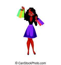 Happy black, African girl, woman with shopping bags, sale concept