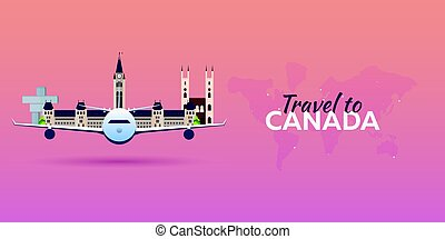 Travel to Canada. Airplane with Attractions. Travel vector...