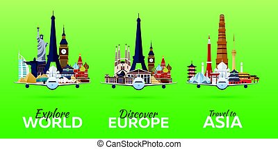 Travel to World. Airplane with Attractions. Set of Travel vector banners. Flat style.