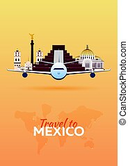 Travel to .Mexico Airplane with Attractions. Travel vector...
