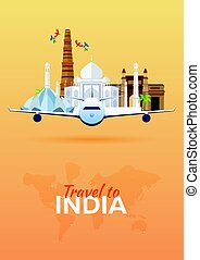 Travel to India. Airplane with Attractions. Travel vector banners. Flat style.