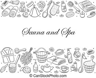 sauna hand drawn - Sauna and spa. Sauna accessories sketches...