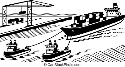 Tugboats assisting cargo ship to port - vector illustration