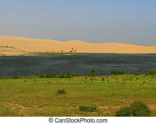 Colored dunes near Phan Thiet, Vietnam - Colored dunes near...