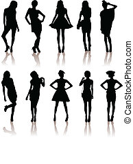 set of various beautiful model girls in dress. - vector...