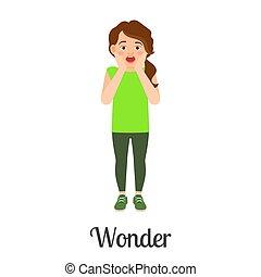 Cartoon little girl wonder feeling