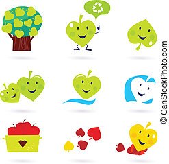 Nature and recycle icons set