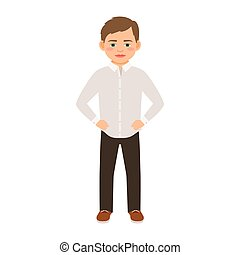 Boy in a classic clothes isolated vector illustration on...