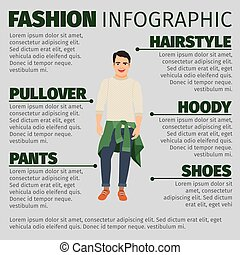 Fashion infographic with young guy