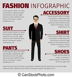 Fashion infographic with smiling man clerk. Vector...