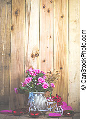 blomma, Årgång, avbild, filtrera, sätta,  studio, Skott,  rosÈ